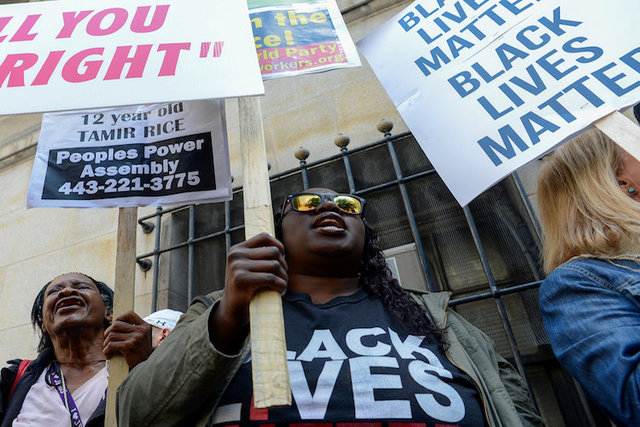 Protesters react as Baltimore police officer Edward Nero (not pictured) was acquitted of all charges in the 2015 death of Freddie Gray, outside a courthouse in Baltimore, Maryland, U.S., May 23, 2 ...