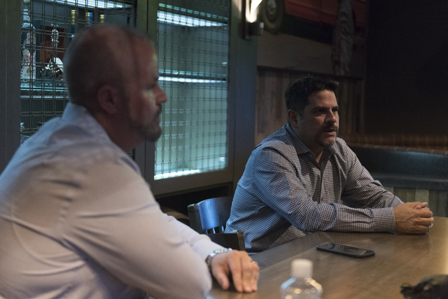Steve Arcana, chief operating officer with Golden Entertainment, right, and Jason Anderson, regional operations manager with PT's Entertainment Group, speak with a reporter at the soon to be opene ...