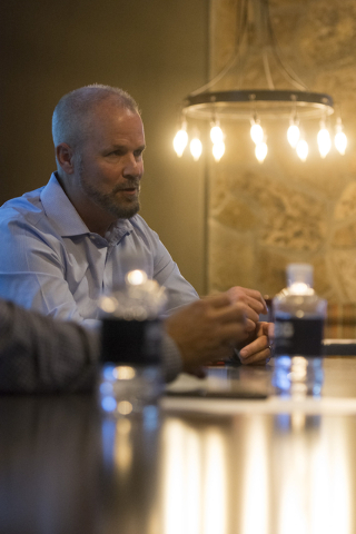 Jason Anderson, regional operations manager with PT's Entertainment Group, speaks with a reporter at the soon to be opened PT's Ranch at 6450 S. Durango Dr. in Las Vegas Thursday, May 19, 2016. Th ...