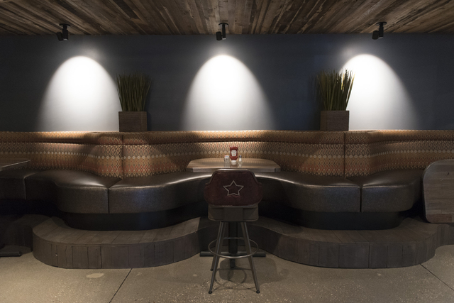 Booths at the soon to be opened PT's Ranch at 6450 S. Durango Dr. in Las Vegas Thursday, May 19, 2016. The tavern, slated to open Thursday, May 26, 2016, will be the 50th launched by PT's Entertai ...
