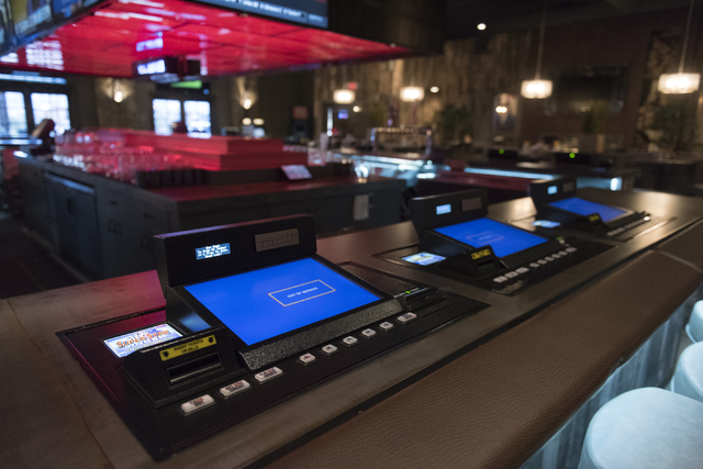Super Star poker machines are seen at the bar of the soon to be opened PT's Ranch at 6450 S. Durango Dr. in Las Vegas Thursday, May 19, 2016. The tavern, slated to open Thursday, May 26, 2016, wil ...