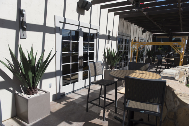 The under construction patio area of the soon to be opened PT's Ranch at 6450 S. Durango Dr. in Las Vegas is seen Thursday, May 19, 2016. The tavern, slated to open Thursday, May 26, 2016, will be ...