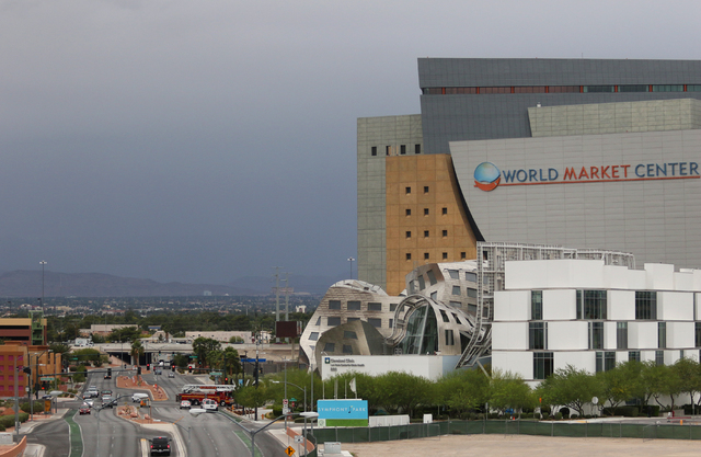 Low and dark clouds are shown near World Market Center and the Cleveland Clinic Lou Ruvo Center for Brain Health Tuesday, May 17, 2016, in Las Vegas. (Ronda Churchill/Las Vegas Review-Journal)