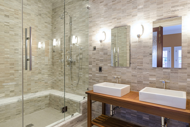 The exercise room in the Eagles Landing Lane home has a bath. (Luxe Estates & Lifestyles)