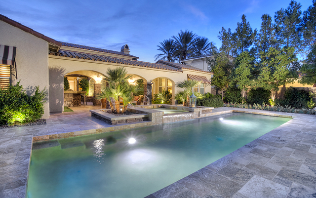 The pool and spa at the Brigadoon Drive home. (Synergy, Sotheby's International Realty)