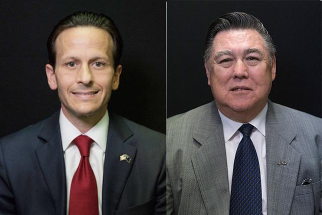 "Candidates for Board of Regents District 13, left to right, John ""J.T."" Moran III and Jim Ratigan. Not pictured is Robert Lewis Jr. (Jason Ogulnik/Las Vegas Review-Journal)"