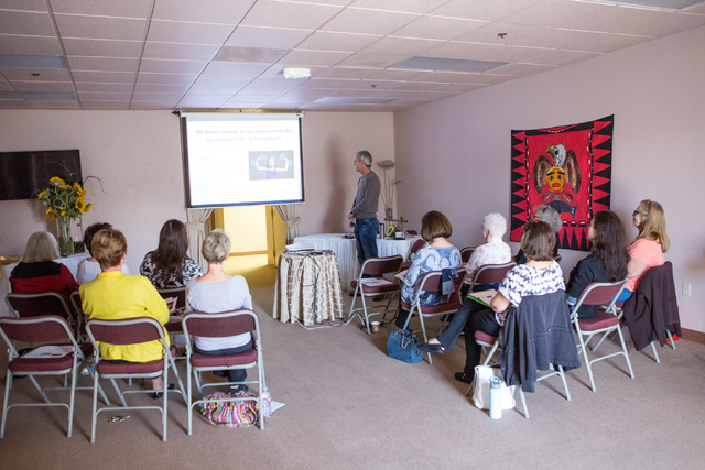 "Dr. Marc Baxter, standing rear, presents his program entitled ""Happiness: How to Get More and Give More"" at the Stillpoint Center for Spiritual Development at 8072 W. Sahara Ave. ..."