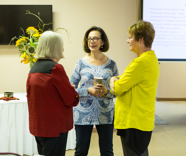 "From the left Katrina Steiner, talks with Sandee Tiberti and Barbara Winston, while on break during a program titled ""Happiness: How to Get More and Give More"" presented by Dr. M ..."