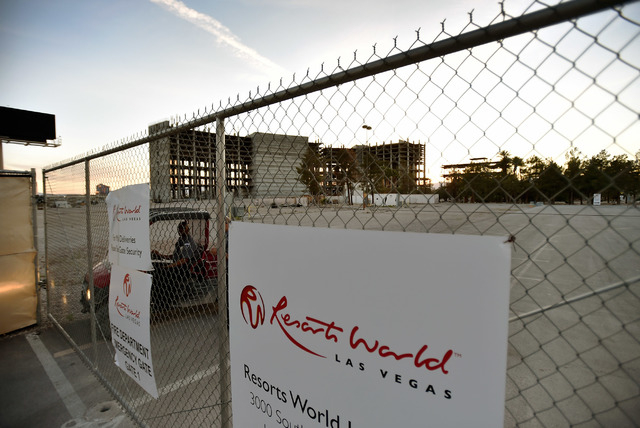 Boyd Gaming's former Echelon development is seen unfinished along the Strip in Las Vegas on Monday, March 23, 2015. Malaysia-based Genting Berhad, which bought the property in 2013, is schedule to ...