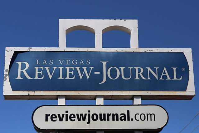 The sign is seen at the front of the Review-Journal building in Las Vegas. (Bizuayehu Tesfaye/Las Vegas Review-Journal Follow @bizutesfaye)
