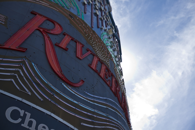 The sign at the shuttered Riviera hotel-casino is seen on the Las Vegas Strip on Tuesday, March 29, 2016. The casino, once demolished, will make way for an expansion of the Las Vegas Convention Ce ...