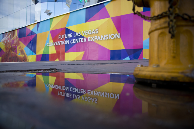 Advertising for the expansion of the Las Vegas Convention Center is seen outside the site of the shuttered Riviera hotel-casino on the Las Vegas Strip on Tuesday, March 29, 2016. Daniel Clark/Las  ...