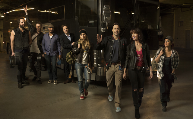 """Peter Cambor, Colson Baker, Finesse Mitchell, Rafe Spall, Imogen Poots, Luke Wilson, Carla Gugino and Keisha Castle-Hughes are stars of """"Roadies."""" (Courtesy of Showtime)"""