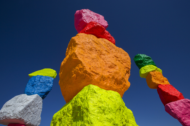 "Artist Ugo Rondinone's ""Seven Magic Mountains"" land art project is alive with vivid colors in the Jean dry lake bed. Benjamin Hager/Las Vegas Review-Journal"