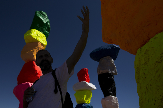 "Swiss artist Ugo Rondinone, creator of the Seven Magic Mountains art project, discusses his vision for the installation, near Jean Dry Lake, Nevada. ""It's a very magical site,"" said Rondinone. Ben ..."