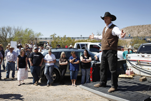"Ryan Bundy, son of Cliven Bundy, speaks during a rally near Bunkerville Nev. Monday, April 7, 2014, 2014. The Bureau of Land Management has begun to round up what they call ""trespass catt ..."