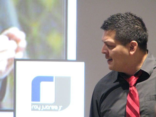 Motivational speaker Roy Juarez Jr. speaks to high school students at Nevada State College, 1125 Nevada State Drive, April 22, 2016. F. Andrew Taylor/View