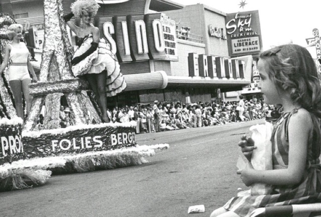 A young girl watches the parade for Helldorado Days in Las Vegas on May 24, 1964. (Wolf Wergin/Las Vegas News Bureau)