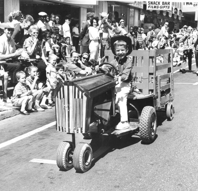 A boy rides through the Helldorado Days parade in Las Vegas in 1968. (Review-Journal file)