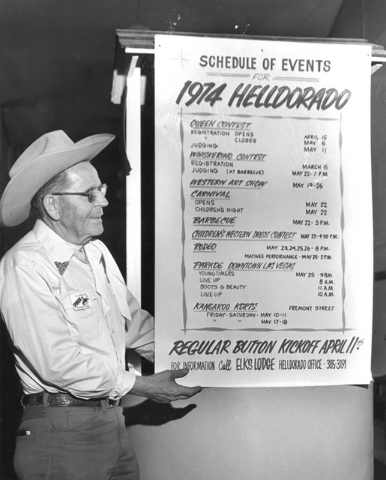 An unknown man presents the festivities for Helldorado Days in 1974. (Review-Journal file)