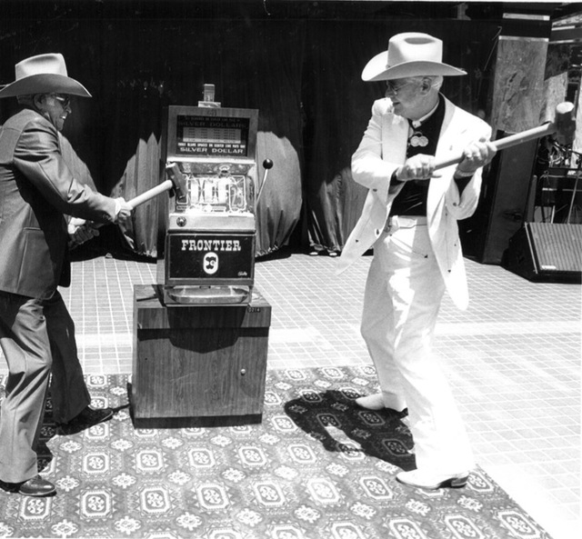 A Silver Dollar machine is smashed as part of Helldorado Days in downtown Las Vegas in 1982. (Review-Journal file)