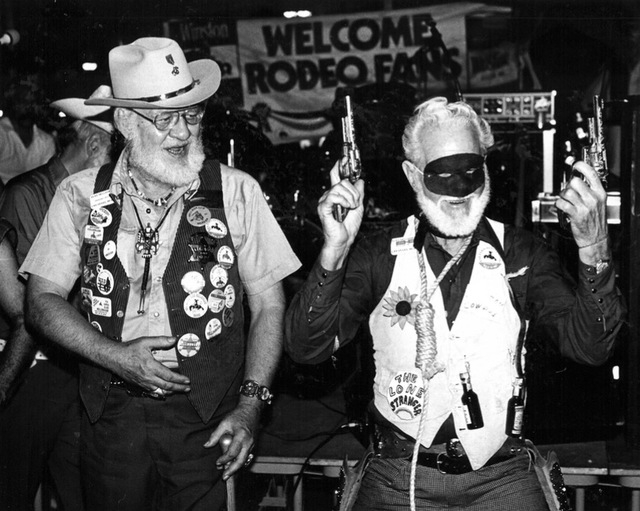 "Original caption, 1981: ""John McMillin (right) reacts after winning the trophy for whitest beard. Runner-up Nick Contrell (left), offers congratulations."" Helldorado Days in Las Vegas. (Review-Jou ..."