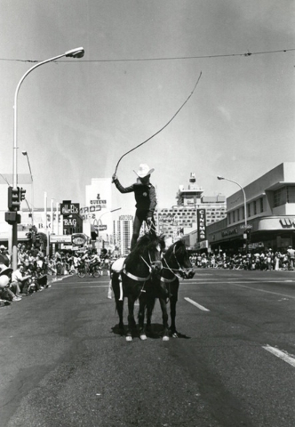 A horse-rider participates in Helldorado Days in downtown Las Vegas in 1975. (Review-Journal file)
