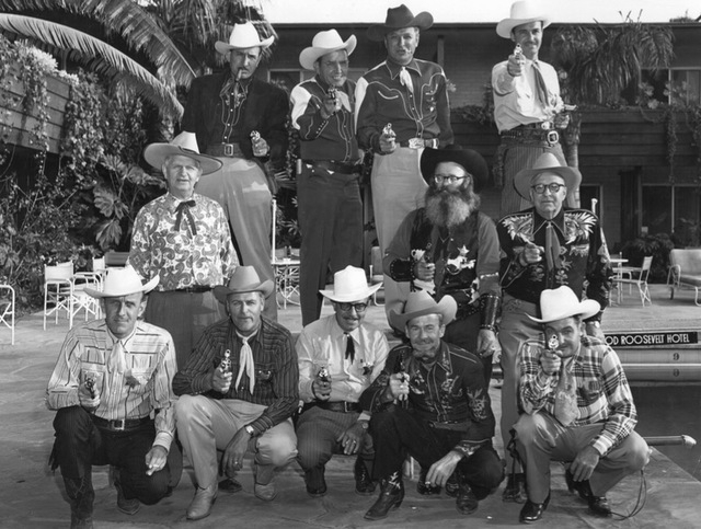 "Original caption from 1953: ""Members of Elks lodge were in Los Angeles last week where they appeared on a six-hour television program which features the big show which will open in Las Vegas on Ma ..."