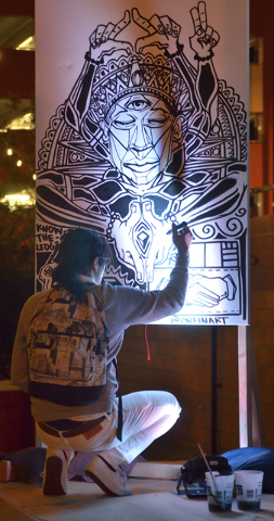 Artist Jeremiah Kaniaupio works on a piece during the Secret Walls Las Vegas competition at Place on 7th at 115 7th Street in Las Vegas on Wednesday, May 25, 2016. Bill Hughes/Las Vegas Review-Journal