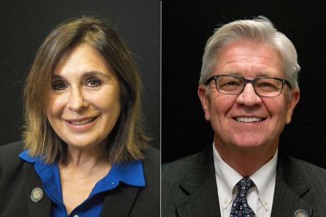 Candidates for state senate district 6, from left, Republicans Victoria Seaman and Erv Nelson. The two will face off in the primary election. (Las Vegas Review-Journal)