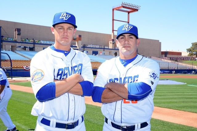 RHP Paul Sewald (L) from Bishop Gorman high School and RHP Chasen Bradford (R) from Silverado High School. (Photo by Steve Spatafore).