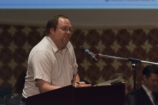 Eddie Whitney speaks during a Clark County School District Board of Trustees meeting to discuss sex ed curriculum at Las Vegas Academy in Las Vegas Thursday, May 25, 2016. (Jason Ogulnik/Las Vegas ...