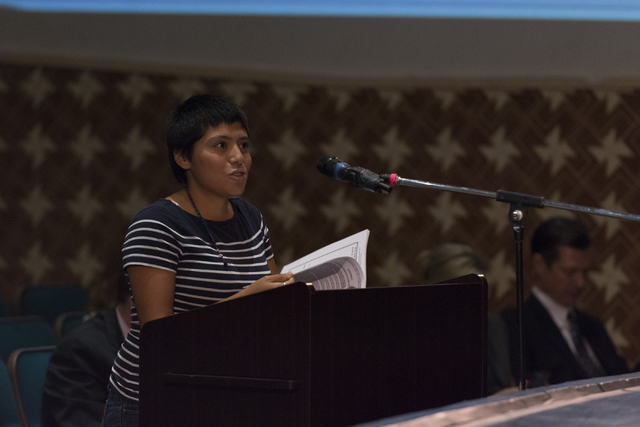 Brenda Hernandez speaks during a Clark County School District Board of Trustees meeting to discuss sex ed curriculum at Las Vegas Academy in Las Vegas Thursday, May 25, 2016. (Jason Ogulnik/Las Ve ...