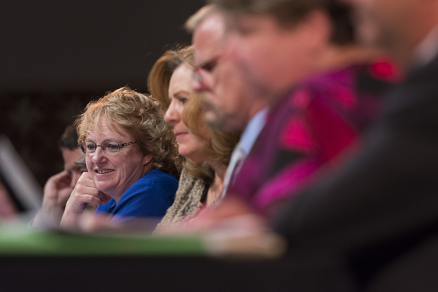 Chris Garvey, Clark County School District board of Trustees vice president, is seen during a CCSD Board of Trustees meeting to discuss sex ed curriculum at Las Vegas Academy in Las Vegas Thursday ...