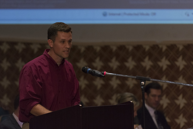 Justin Rowberry speaks during a Clark County School District Board of Trustees meeting to discuss sex ed curriculum at Las Vegas Academy in Las Vegas Thursday, May 25, 2016. (Jason Ogulnik/Las Veg ...