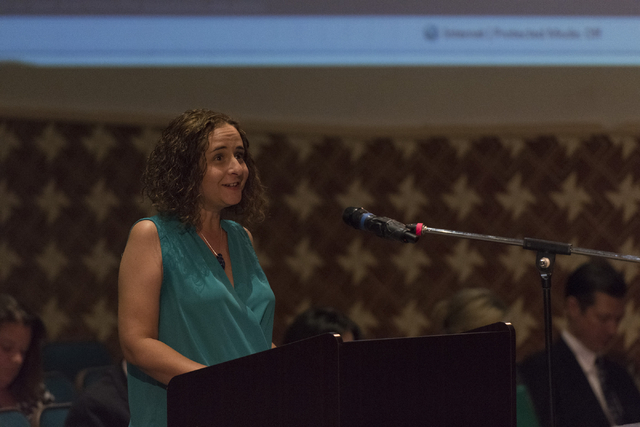 Sarah Lemma speaks during a Clark County School District Board of Trustees meeting to discuss sex ed curriculum at Las Vegas Academy in Las Vegas Thursday, May 25, 2016. (Jason Ogulnik/Las Vegas R ...