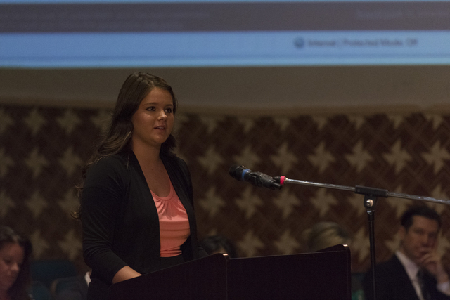 Morgan Ikley speaks during a Clark County School District Board of Trustees meeting to discuss sex ed curriculum at Las Vegas Academy in Las Vegas Thursday, May 25, 2016. (Jason Ogulnik/Las Vegas  ...