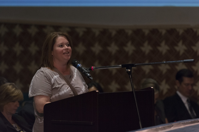 Lisa Scuro speaks during a Clark County School District Board of Trustees meeting to discuss sex ed curriculum at Las Vegas Academy in Las Vegas Thursday, May 25, 2016. (Jason Ogulnik/Las Vegas Re ...