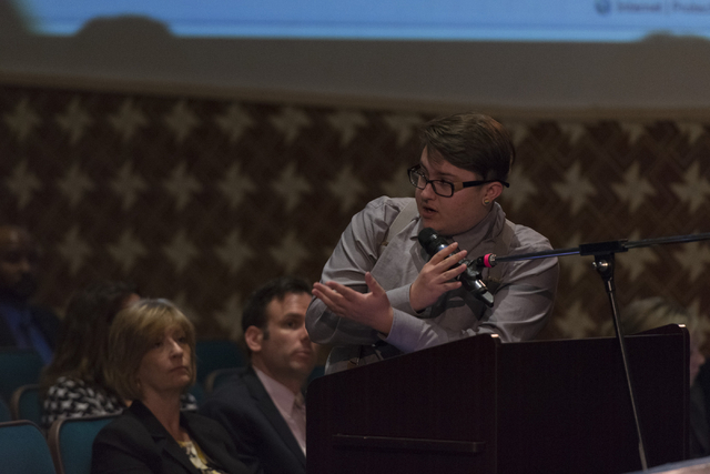 Tristan Torres speaks during a Clark County School District Board of Trustees meeting to discuss sex ed curriculum at Las Vegas Academy in Las Vegas Thursday, May 25, 2016. (Jason Ogulnik/Las Vega ...