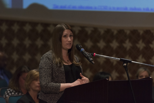 Amy Rose speaks during a Clark County School District Board of Trustees meeting to discuss sex ed curriculum at Las Vegas Academy in Las Vegas Thursday, May 25, 2016. (Jason Ogulnik/Las Vegas Revi ...