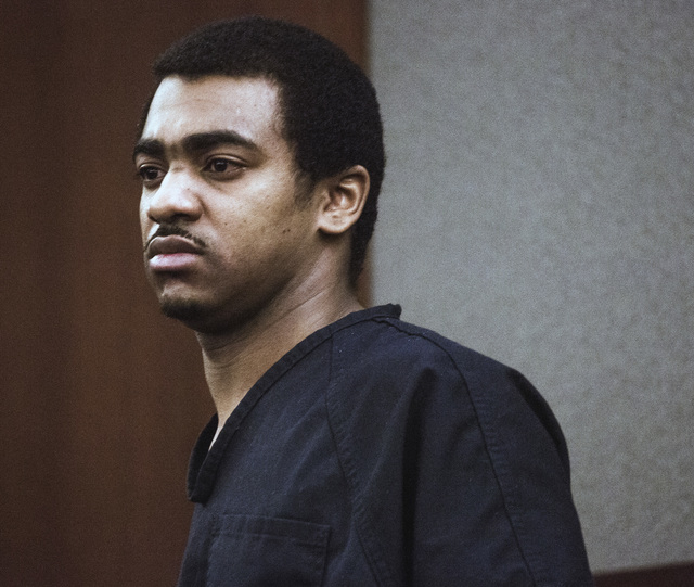 Robert Sharpe, a pimp convicted of beating a woman and leaving her nearly dead, stands for his sentencing at Regional Justice Center on Tuesday, May 17, 2016. He received life without parole. Jeff ...