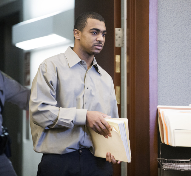 Robert Sharpe III, accused of brutally beating one of his prostitutes for months, appears in Regional Justice Center on Friday, March 11, 2016.  (Jeff Scheid/Las Vegas Review-Journal)