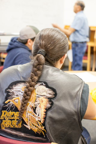 A student listens as Boyd Graham teaches a Shoshone language class at the White Pine High School in Ely, Nev. on Thursday March 3, 2016. (Randi Lynn Beach/Las Vegas Review-Journal)