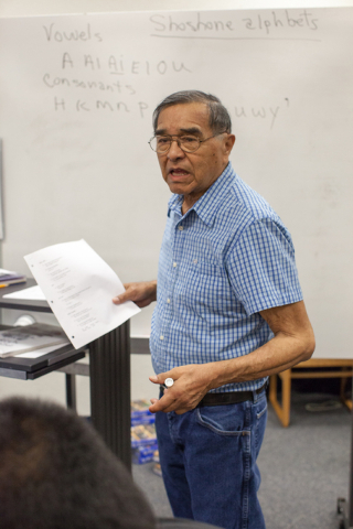 Boyd Graham teaches a Shoshone language class at the White Pine High School in Ely, Nev. on Thursday March 3, 2016. (Randi Lynn Beach/Las Vegas Review-Journal)