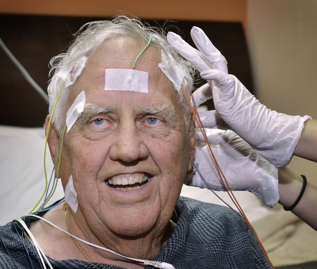 Ron Moroni is prepped for a sleep study at the Sleep Center of Nevada in the Red Rock Medical Center at 5701 W. Charleston Blvd. in Las Vegas on Thursday, April 14, 2016. Bill Hughes/Las Vegas Rev ...
