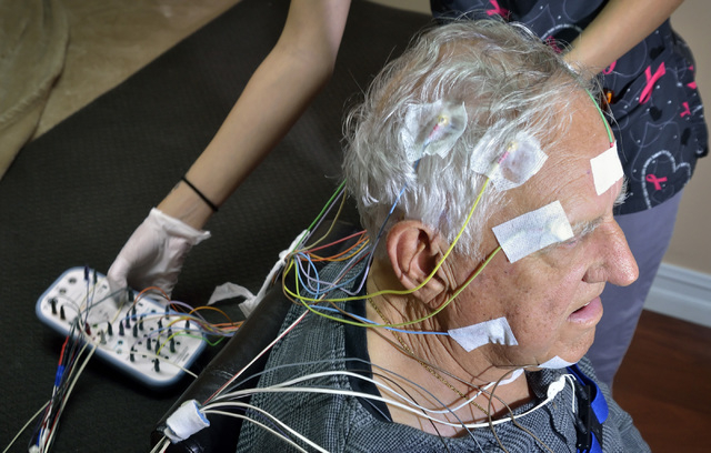 Ron Moroni is shown being prepped for a sleep study at the Sleep Center of Nevada in the Red Rock Medical Center at 5701 W. Charleston Blvd. in Las Vegas on Thursday, April 14, 2016. Bill Hughes/L ...