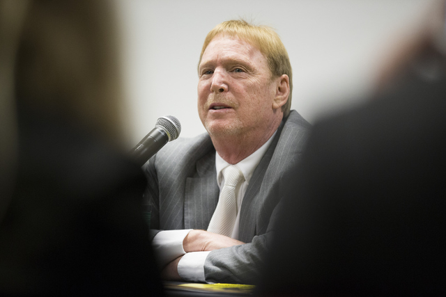 Oakland Raiders owner Mark Davis speaks during a press conference on the proposed Las Vegas dome stadium at the Stan Fulton Building at UNLV on Thursday, April 28, 2016. (Erik Verduzco/Las Vegas R ...