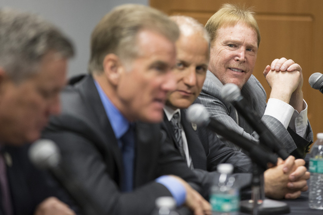 Oakland Raiders owner Mark Davis looks on during a press conference on the proposed Las Vegas dome stadium at the Stan Fulton Building at UNLV on Thursday, April 28, 2016, in Las Vegas. (Erik Verd ...