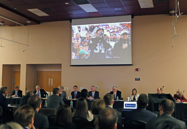 A presentation is shown for a stadium proposal during a meeting of the Southern Nevada Tourism Infrastructure Committee at UNLV's Stan Fulton Building Thursday, May 26, 2016, in Las Vegas. Las Veg ...
