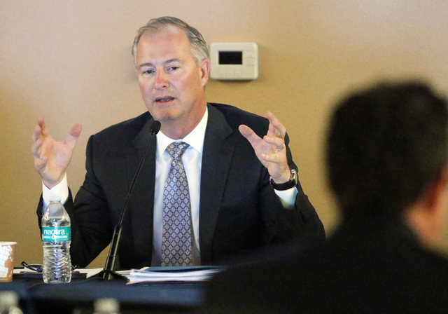 Southern Nevada Tourism Infrastructure Committee chairman Steve Hill speaks at UNLV's Stan Fulton Building Thursday, May 26, 2016, in Las Vegas. (Ronda Churchill/Las Vegas Review-Journal)